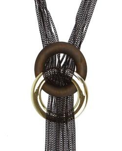 Maxi colar preto, dourado e marrom Beauté
