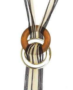 Maxi colar dourado, preto e caramelo Beauté