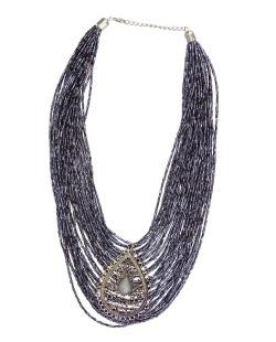 Maxi colar prateado, azul e cinza Háls