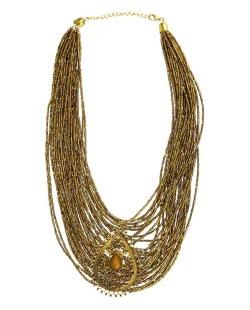 Maxi colar dourado e marrom Háls