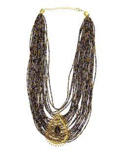 Maxi colar dourado, azul e preto Háls