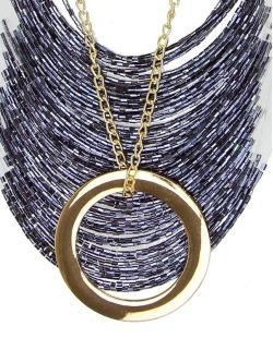 Maxi colar dourado e azul coll