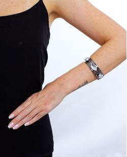 Bracelete grafite e cristal Jout