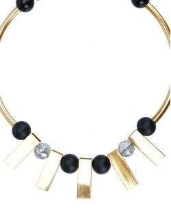 Maxi colar geométrico dourado, cristal e preto Retto