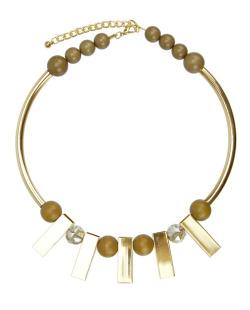 Maxi colar geométrico dourado, licor e caramelo Retto