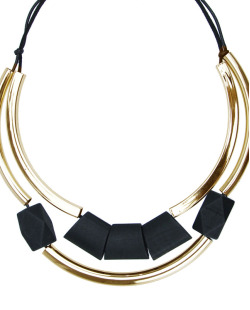 Maxi colar de madeira dourado e preto Wud