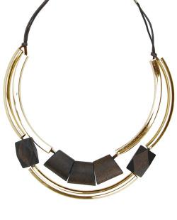 Maxi colar de madeira dourado e marrom Wud