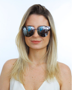 Óculos de sol preto e espelhado cinza Kent