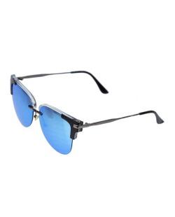 Óculos de sol preto e espelhado azul Kent