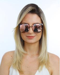 Óculos de sol dourado e espelhado rosé Kent