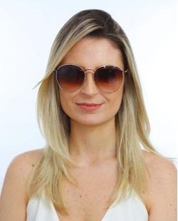 Óculos de sol dourado e marrom Slay