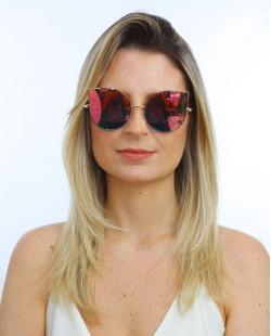 Óculos de sol dourado e espelhado rosa Tea