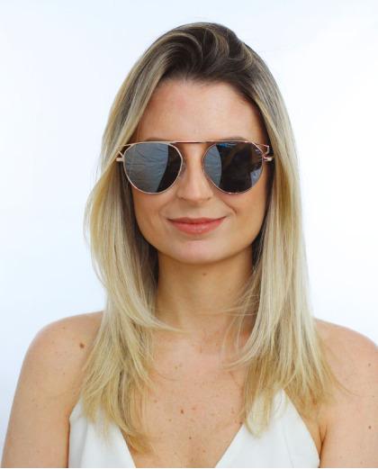 Óculos de sol dourado e espelhado cinza Kasey