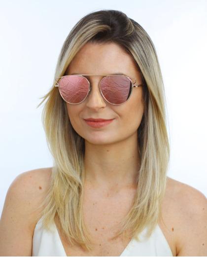 Óculos de sol dourado e espelhado rosa Kasey