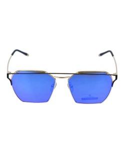 Óculos de sol dourado e espelhado azul Square