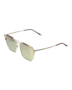 Óculos de sol dourado e espelhado rosa Square