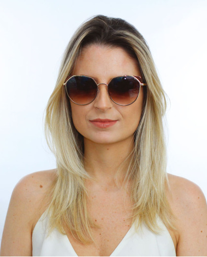 Óculos de sol dourado e marrom Kat