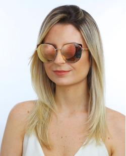Óculos de sol dourado e espelhado rosé Kat