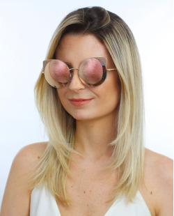 Óculos de sol dourado e espelhado rosé Werk