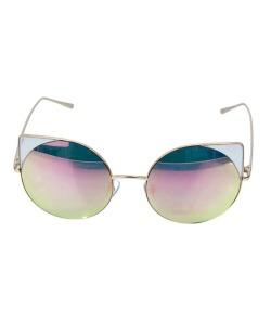 Óculos de sol dourado e espelhado rosa Werk