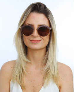 Óculos de sol dourado e marrom Gea