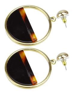 Maxi brinco dourado, preto e marrom Curve