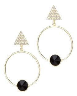 Maxi brinco dourado, preto e cristal Trace
