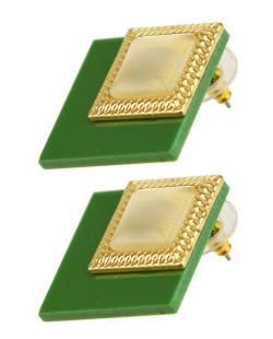 Brinco dourado e verde Comet
