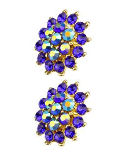 Brinco dourado, azul e furta-cor Atom