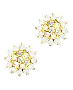 Brinco dourado, branco e furta-cor Atom
