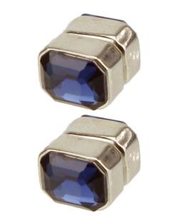Brinco magnético retangular prateado e azul