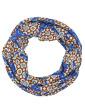 Turbante estampado Azul, laranja e branco