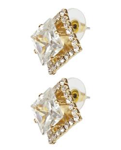 Brinco de zircônia dourado e cristal Dinasty