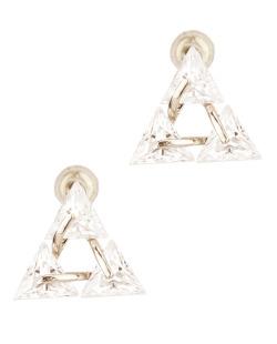 Brinco de zircônia prateado e cristal Tridente