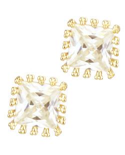 Brinco de zircônia dourado e cristal Square