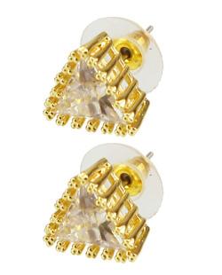 Brinco de zircônia dourado e cristal Tetra