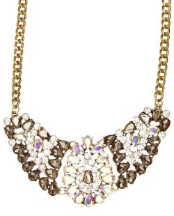 Maxi colar dourado, fumê, cristal e furta-cor Noobie