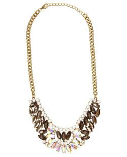 Maxi colar dourado, fumê, cristal e furta-cor Vintie