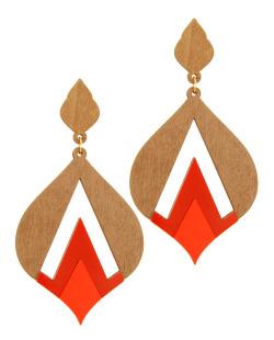 Maxi brinco acrílico vermelho e madeira Lírium