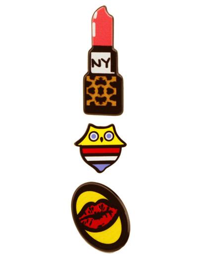 Kit 3 Pins Coruja, boca e Batom NY