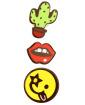 Kit 3 Pins cactus, boca e Smiley Kiss