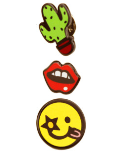Kit 3 Pins cactus, boca e Smiley Kiss