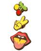 Kit 3 Pins Cerejas, boca e mão Peace