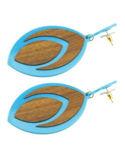 Maxi brinco de acrílico azul e madeira Siss