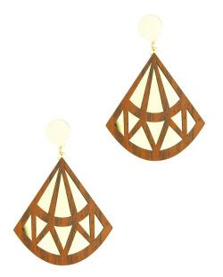 Maxi brinco de acrílico dourado e madeira Diamond