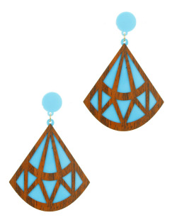 Maxi brinco de acrílico azul e madeira Diamond