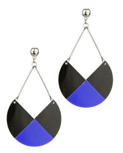 Maxi brinco grafite de acrílico preto e azul Lisi