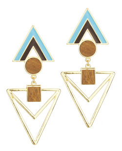 Maxi brinco dourado geométrico, acrílico preto e verde e madeira Floribela