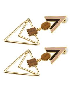 Maxi brinco dourado geométrico, acrílico preto e rosa e madeira Floribela