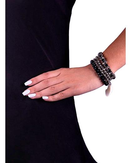 Kit 4 braceletes em acrílico e metal com strass e concha Ibere